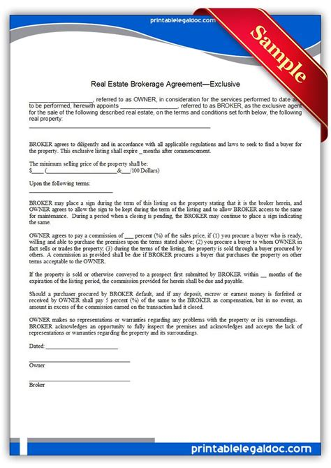 Free Printable Real Estate Brokerage Agreement Exclusive Sle Printable Legal Forms Legal Co Broker Agreement Template