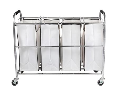 laundry organizer saganizer 4 bag laundry organizer chrome white