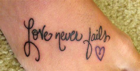 love never fails tattoo never fails foot d never fails