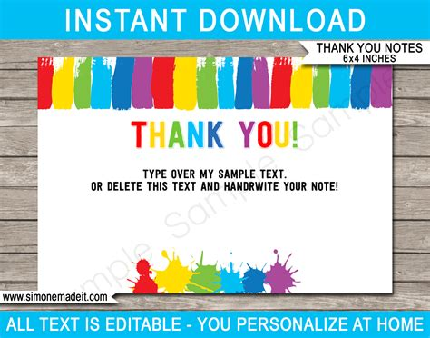 Printable Art Party Thank You Cards Paint Birthday Party Favor Tags Reception Thank You Card Template