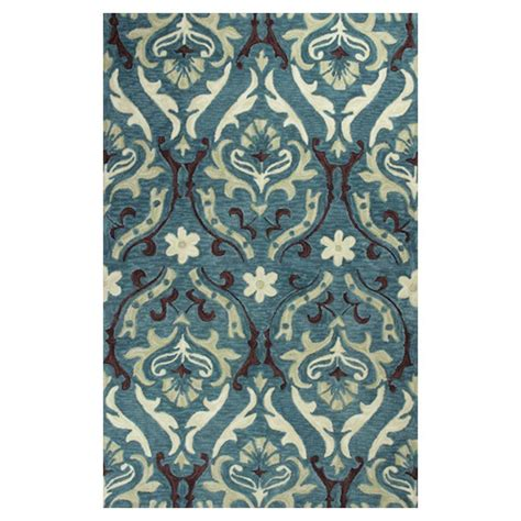 teal damask rug kas rugs royal damask teal 2 ft 3 in x 3 ft 9 in