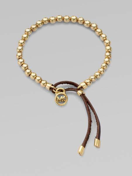 michael kors beaded bracelet michael kors leather accented beaded bracelet in gold lyst