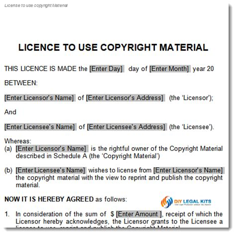 copyright contract template free copyright license agreement template