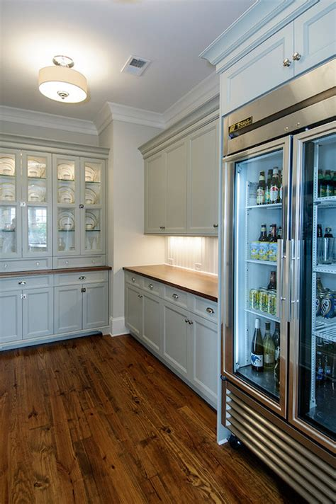 glass door refrigerator transitional kitchen