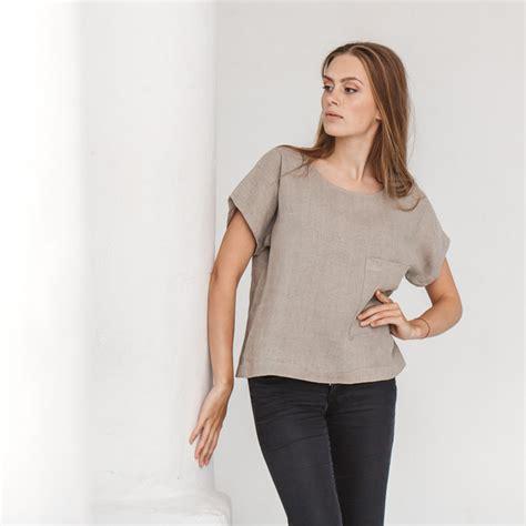 Blouse Saku Jumbo Linen linen top linen shirt oversized blouse grey linen
