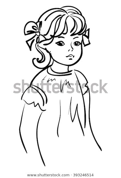 Little Girl Outline Drawing Stock Vector (Royalty Free