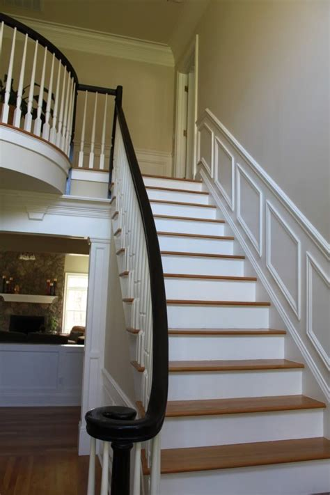 option  white painted balusters black painted newel