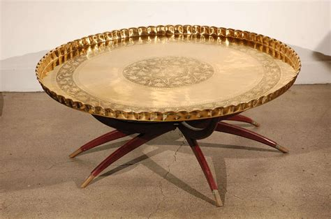 Large Tray For Coffee Table Large Brass Tray Table On Folding Stand 45 Quot Diameter At 1stdibs
