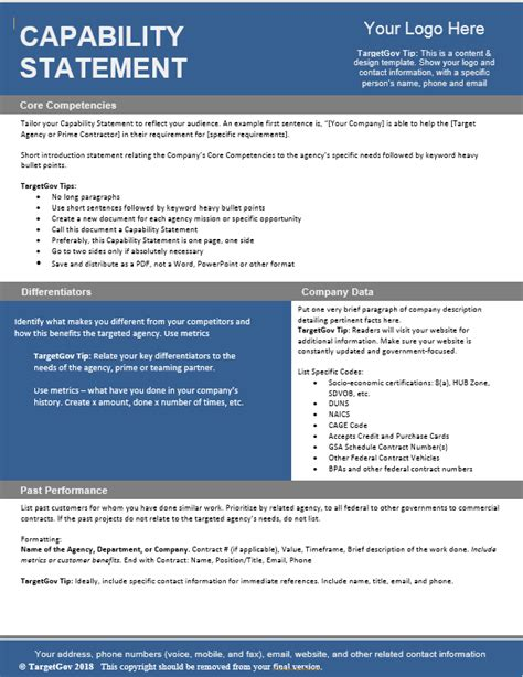 capabilities statement template capability statement editable template targetgov
