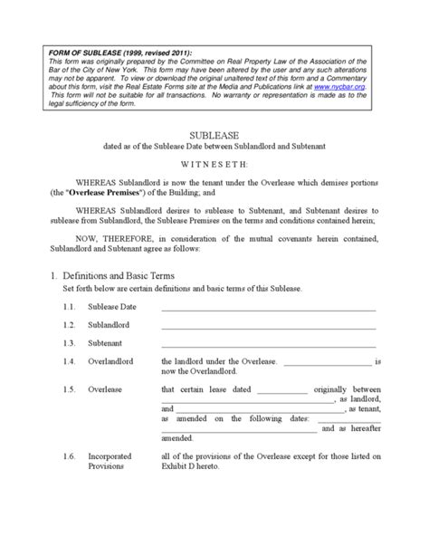 Sublet Lease Agreement Sublease Agreement Template Nyc