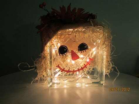 scarecrow decorations fall glass block scarecrow fall decoration