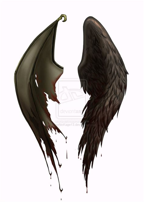 Half Wing Black Half Half Tattoos Wings