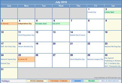 july 2016 printable calendar with holidays calendar july 2016 us calendar with holidays for printing image