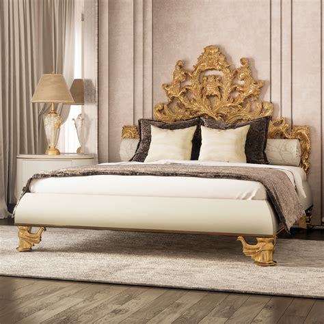 gold frame bed luxurious ornate gold leaf bed