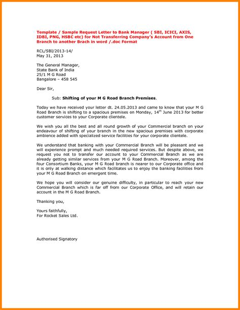 Bank Letter To Manager 9 Bank Account Transfer Letter Format Dialysis