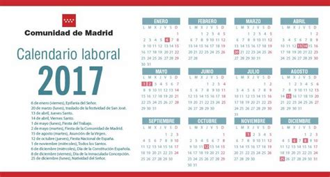 Calendario Laboral 2017 Madrid Capital Calendario Laboral Madrid 2017 Printable 2018 Calendar