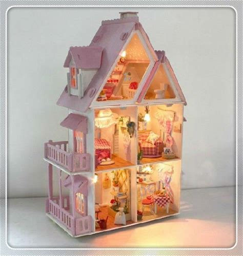 unique doll houses assembling diy miniature model kit wooden doll house unique big size house toy with