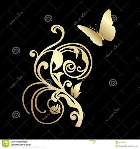 Papillon De Dentelle D Or Sur Le Fond Noir Illustration De Insecte Dessin Illustration De Dessin De Papillon Noir Sur Fond Blanc L