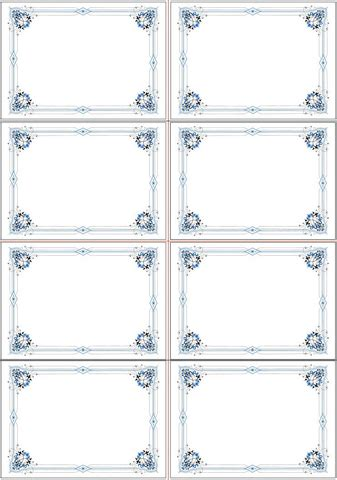 place card template paper blue place card template free printable papercraft templates
