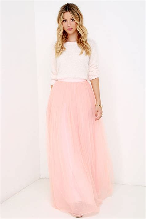 Tulle Skirt   Maxi Skirt   Blush Skirt   High Waisted Skirt   $78.00