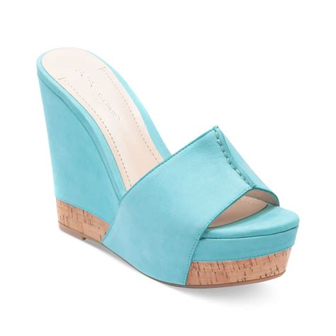 wedge sandals blue lyst bcbgeneration rexx platform slide wedge sandals in blue