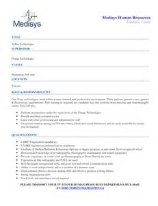 radiologic technologist resume sles sle resume of x technician what your resume