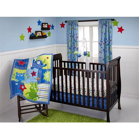 walmart baby bedding little bedding by nojo monster babies 3pc crib bedding