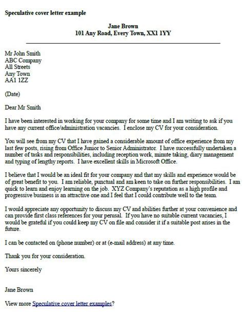 speculative cover letter exles post reply