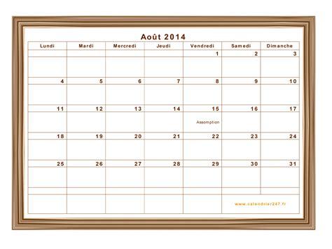 Calendrier Aout Calendrier Ao 251 T 2014 224 Imprimer Gratuit En Pdf Et Excel