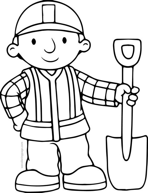 coloring page builder bob the builder shovel coloring page wecoloringpage