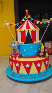 three tier round birthday cake circus tent monkey elephant the delicious biscuit