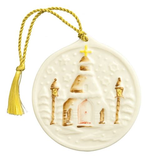 irish christmas belleek snowflake church ornament at