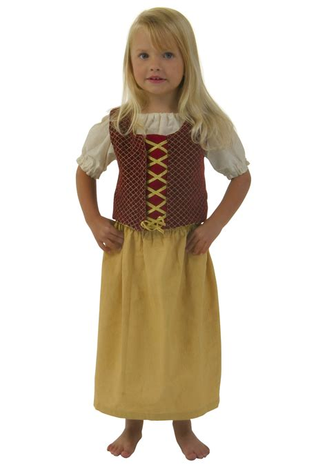 kids red red peasant dress