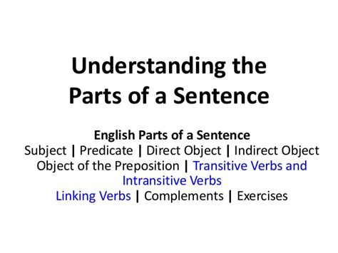 basic sentence pattern transitive verb english parts of a sentence transitive intransitive verbs
