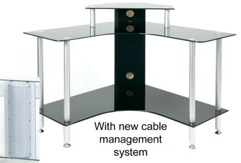 Small Black Glass Computer Desk Buy Pc004 Scb Small Corner Black Glass Computer Desk From Our Office Desks Tables Range Tesco