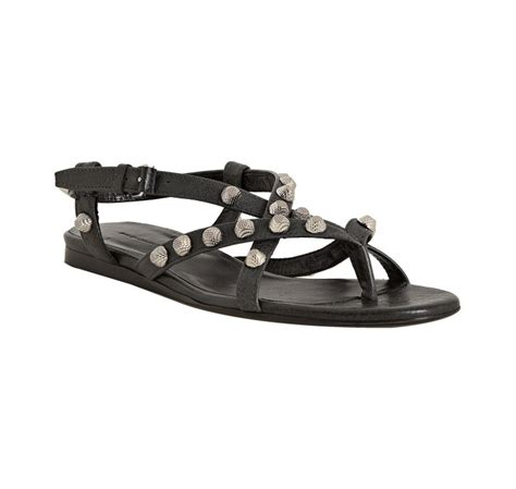 balenciaga anthracite leather studded arena flat sandals in gray anthracite lyst