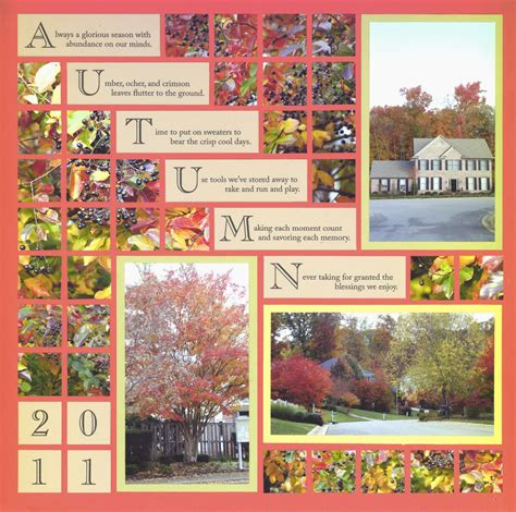 layout of scrapbook autumn scrapbook layout with step down journal blocks