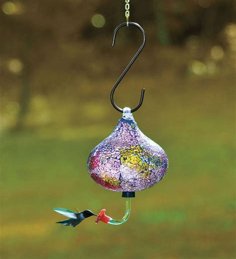this iridescent recycled glass mosaic hummingbird feeder
