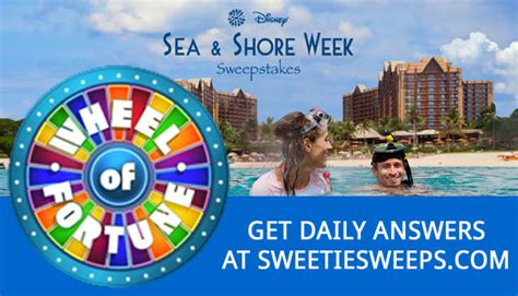 How To Find Local Sweepstakes - wheel of fortune sea and shore week sweepstakes daily answers