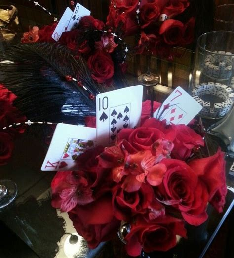 Black and Red Las Vegas Themed Centerpieces   FBD Weddings