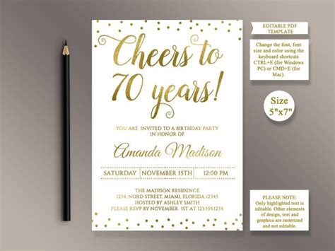 Editable 70th Birthday Party Invitation Template Cheers To 70 70th Birthday Invitation Templates