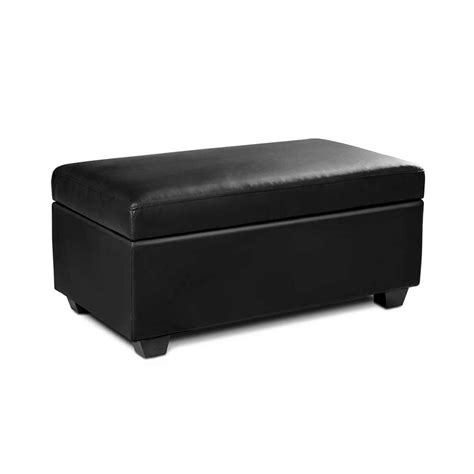Storage Ottoman Black Leather Blanket Box Storage Ottoman Seat Faux Leather Large Footrest Foot Black Lb Ebay