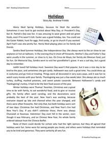 reading comprehension worksheet holidays