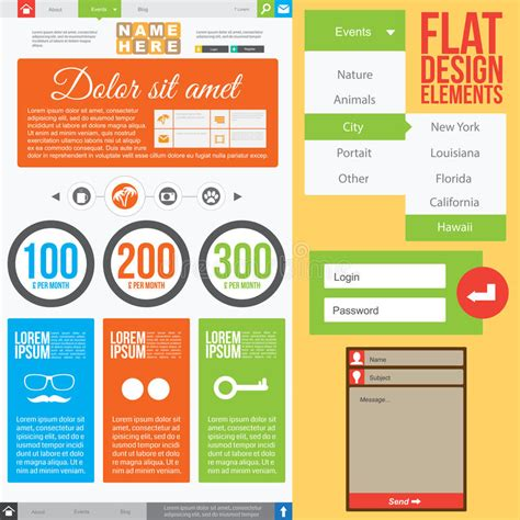 homepage design elements flat web design stock vector image of creative