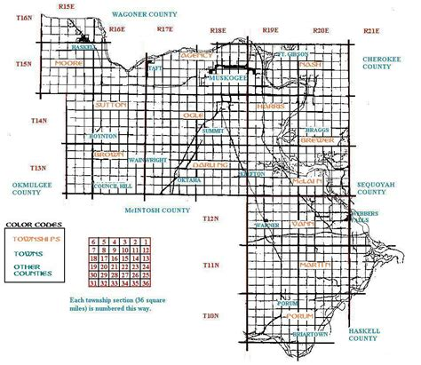 how to read section township range map muskogee county township map