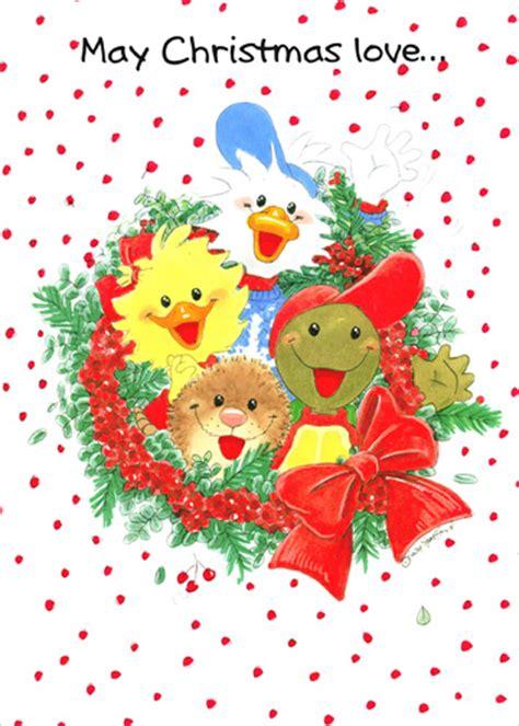 suzys zoo wreath christmas card  paper magic