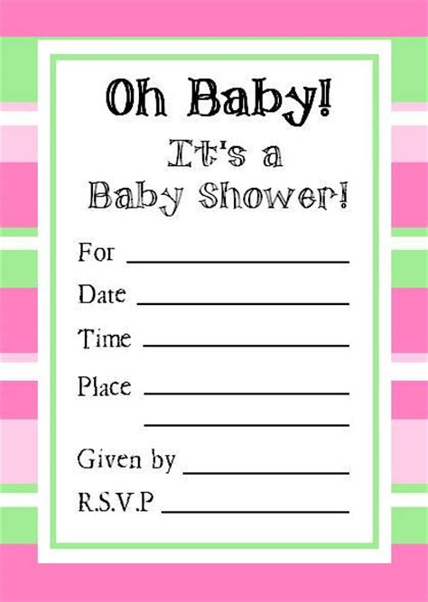 baby shower invitations printable templates free baby shower invitations template best