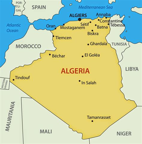 algeria map with cities largest city in algeria map