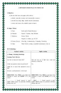 lesson plan template for science 4a s detailed lesson plan in science 3