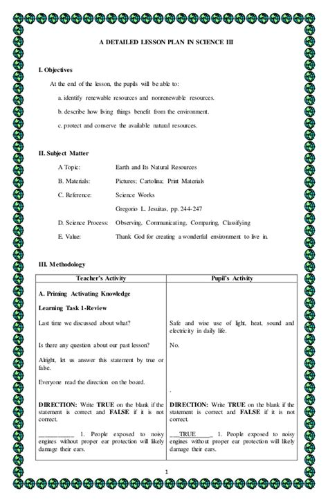 lesson plan template science 4a s detailed lesson plan in science 3